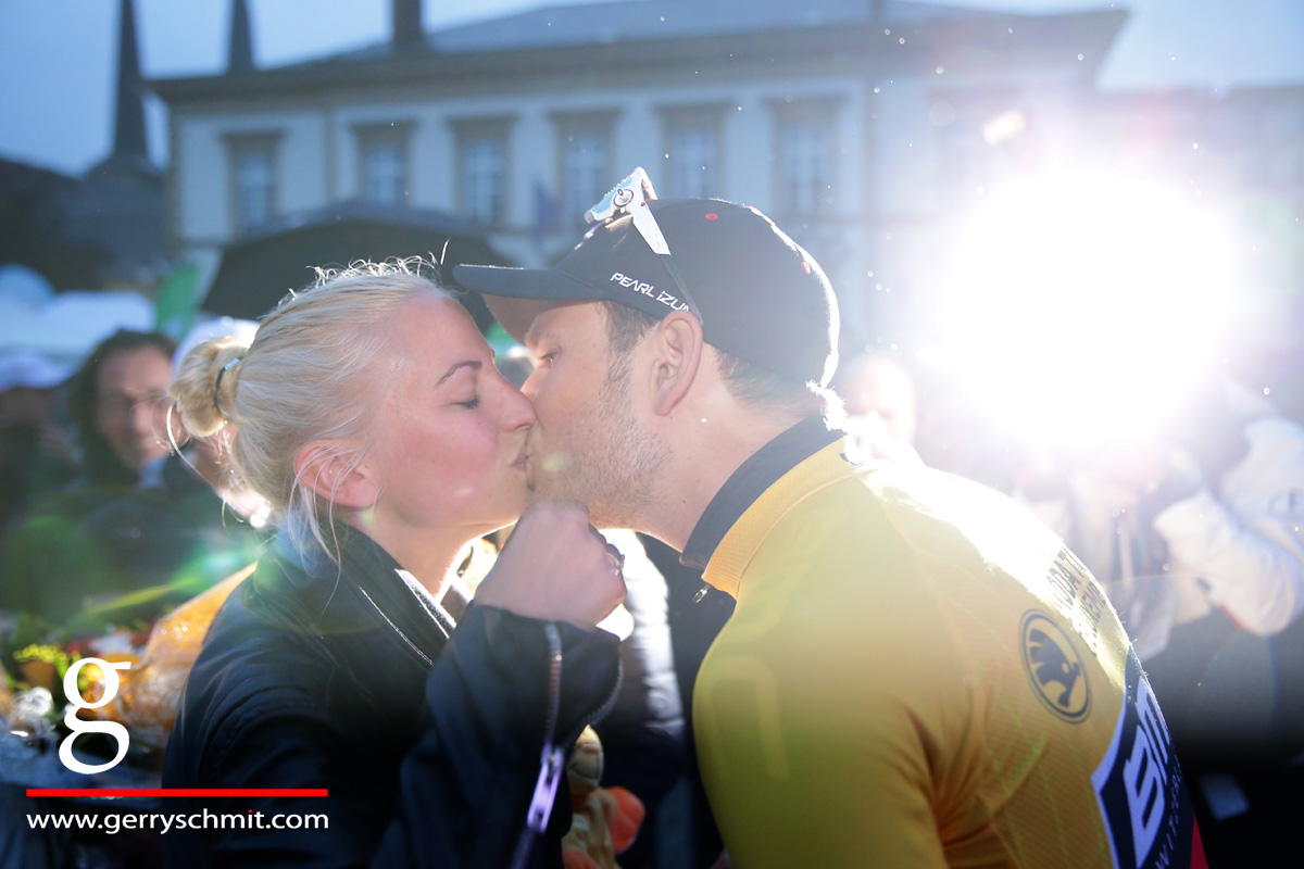 Jempy Drucker of Luxembourg first leader of Tour de Luxembourg gets kissed by his wife