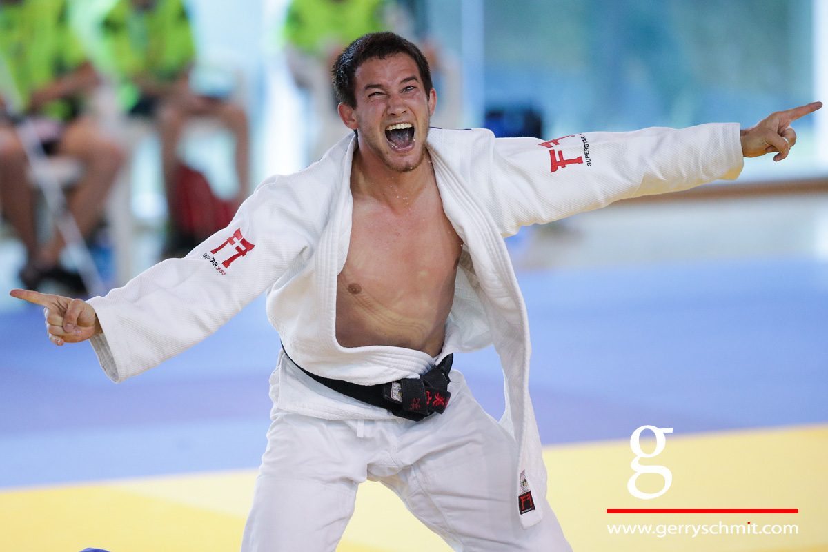 Judoka Tom Schmit of Luxembourg celebrates his Gold Medal win @JPEE 2017