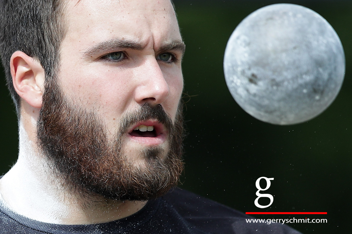 Portrait of Bob Bertemes (LUX) during Shotput competition