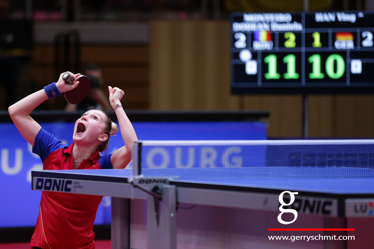 Daniela Monteiro-Dodean shows great emotions after making the decisive Championship point agaisnt Germany
