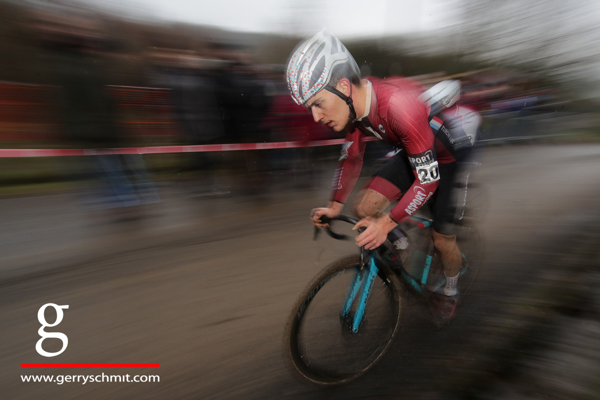 Luc Turchi of Luxembourg during new years cyclocross race