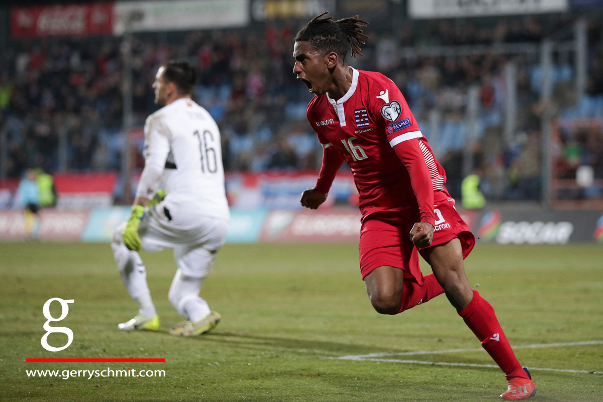 Leandro Barreiro of Luxembourg celebrates his goal of 1-1 against Lithuania